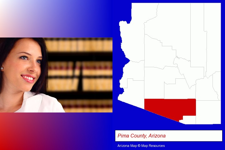 a young, female attorney in a law library; Pima County, Arizona highlighted in red on a map
