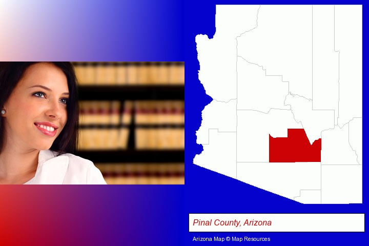 a young, female attorney in a law library; Pinal County, Arizona highlighted in red on a map