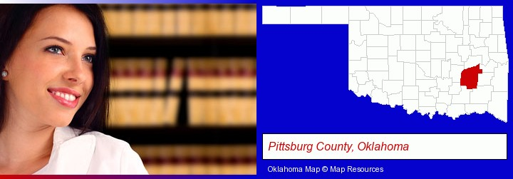 a young, female attorney in a law library; Pittsburg County, Oklahoma highlighted in red on a map