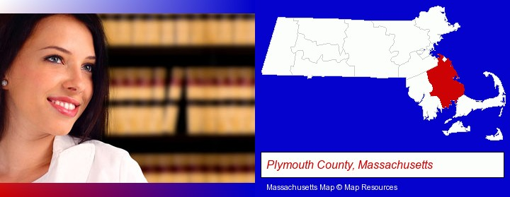 a young, female attorney in a law library; Plymouth County, Massachusetts highlighted in red on a map
