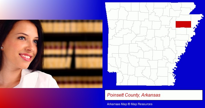 a young, female attorney in a law library; Poinsett County, Arkansas highlighted in red on a map