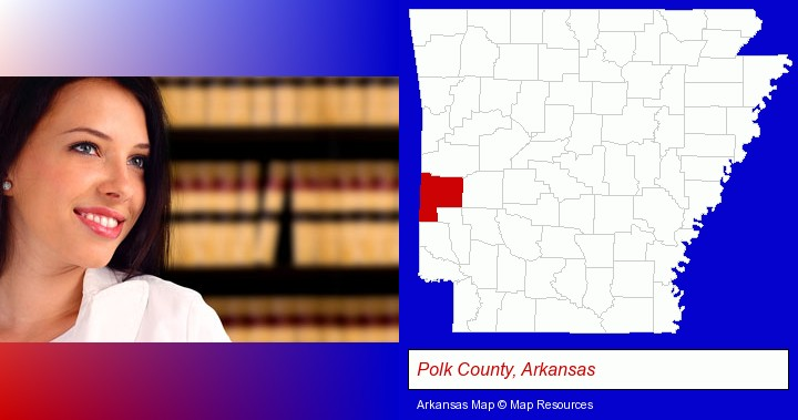 a young, female attorney in a law library; Polk County, Arkansas highlighted in red on a map
