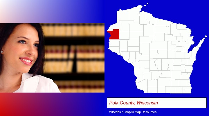 a young, female attorney in a law library; Polk County, Wisconsin highlighted in red on a map