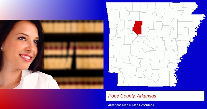 a young, female attorney in a law library; Pope County, Arkansas highlighted in red on a map