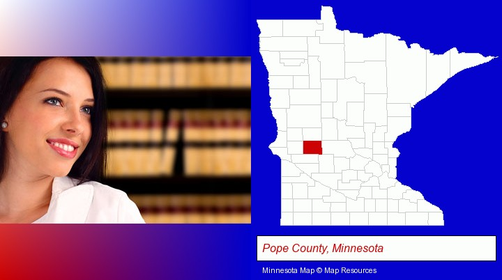 a young, female attorney in a law library; Pope County, Minnesota highlighted in red on a map