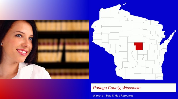 a young, female attorney in a law library; Portage County, Wisconsin highlighted in red on a map