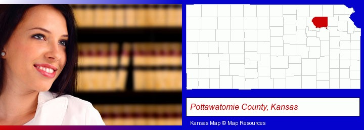 a young, female attorney in a law library; Pottawatomie County, Kansas highlighted in red on a map