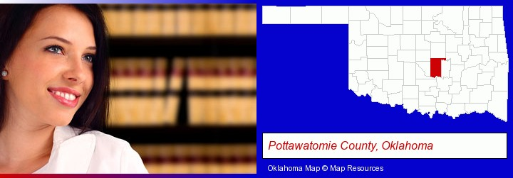 a young, female attorney in a law library; Pottawatomie County, Oklahoma highlighted in red on a map