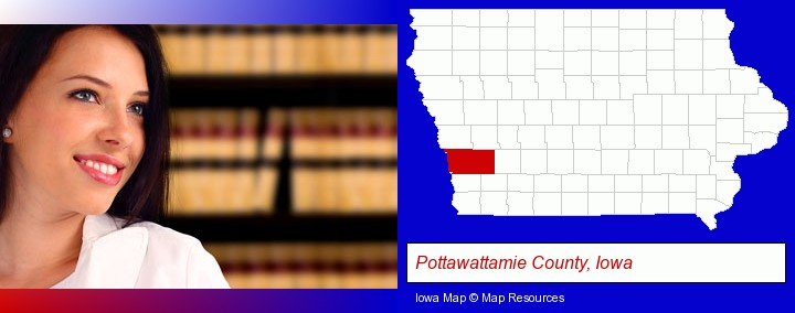 a young, female attorney in a law library; Pottawattamie County, Iowa highlighted in red on a map