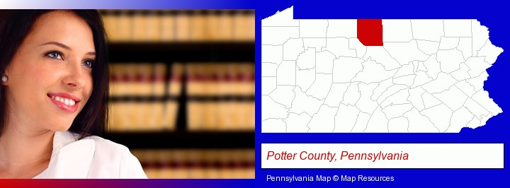 a young, female attorney in a law library; Potter County, Pennsylvania highlighted in red on a map