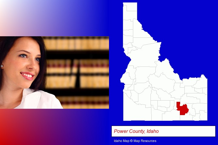 a young, female attorney in a law library; Power County, Idaho highlighted in red on a map