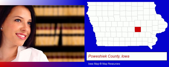 a young, female attorney in a law library; Poweshiek County, Iowa highlighted in red on a map