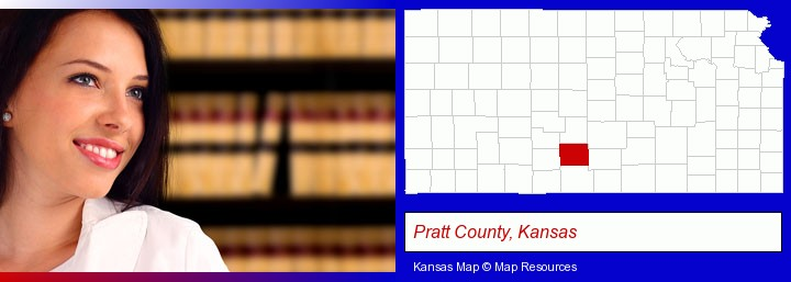 a young, female attorney in a law library; Pratt County, Kansas highlighted in red on a map