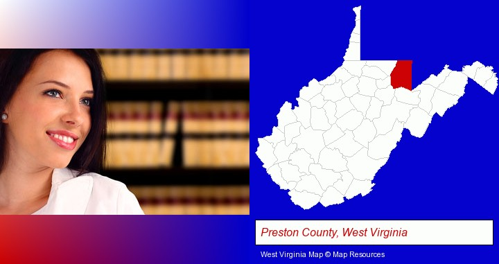 a young, female attorney in a law library; Preston County, West Virginia highlighted in red on a map