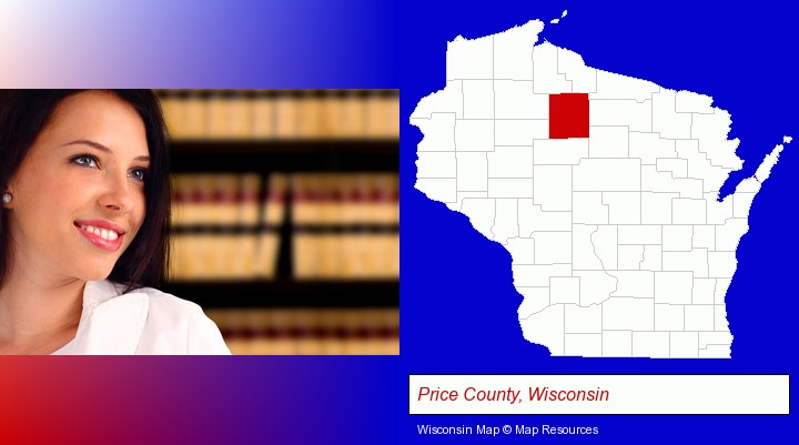 a young, female attorney in a law library; Price County, Wisconsin highlighted in red on a map