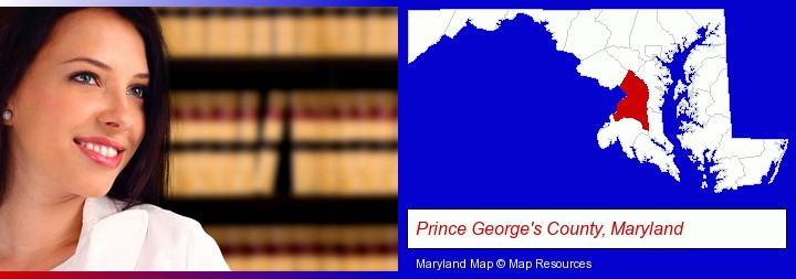 a young, female attorney in a law library; Prince George's County, Maryland highlighted in red on a map