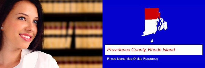 a young, female attorney in a law library; Providence County, Rhode Island highlighted in red on a map