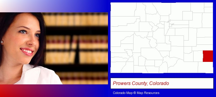 a young, female attorney in a law library; Prowers County, Colorado highlighted in red on a map