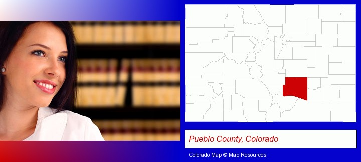 a young, female attorney in a law library; Pueblo County, Colorado highlighted in red on a map