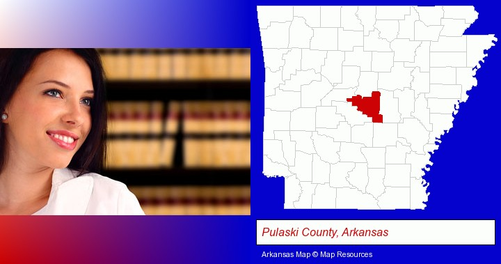 a young, female attorney in a law library; Pulaski County, Arkansas highlighted in red on a map