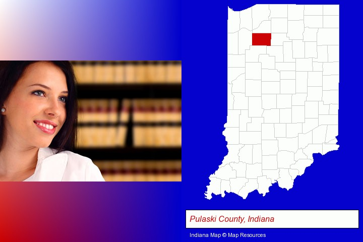 a young, female attorney in a law library; Pulaski County, Indiana highlighted in red on a map