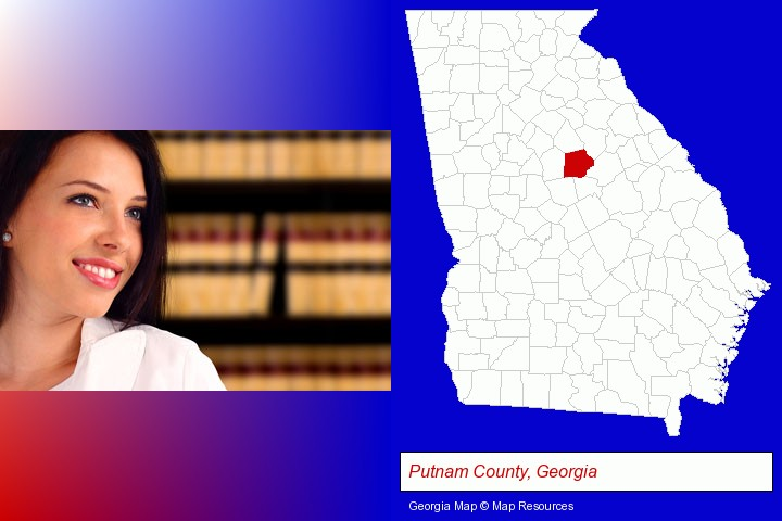 a young, female attorney in a law library; Putnam County, Georgia highlighted in red on a map