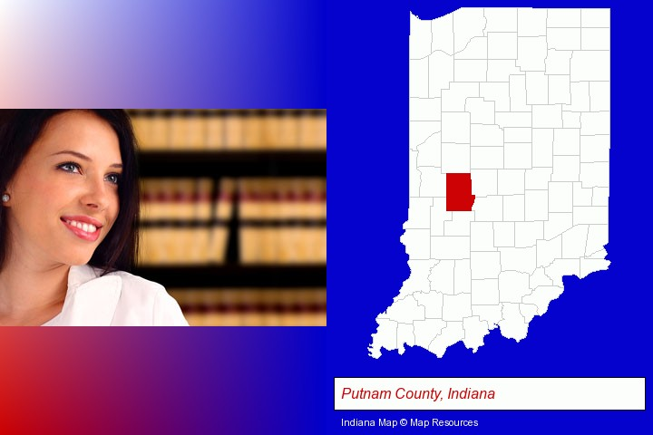 a young, female attorney in a law library; Putnam County, Indiana highlighted in red on a map
