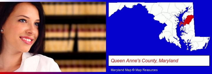 a young, female attorney in a law library; Queen Anne's County, Maryland highlighted in red on a map