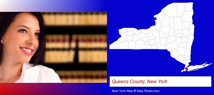 a young, female attorney in a law library; Queens County, New York highlighted in red on a map