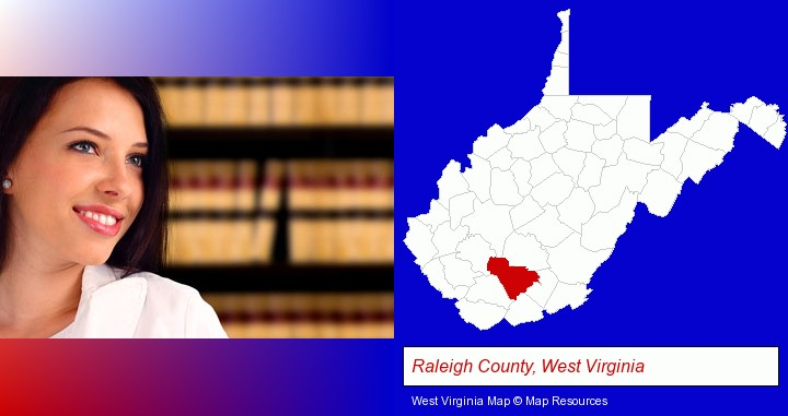 a young, female attorney in a law library; Raleigh County, West Virginia highlighted in red on a map