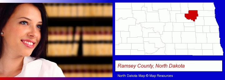 a young, female attorney in a law library; Ramsey County, North Dakota highlighted in red on a map