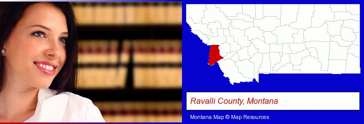 a young, female attorney in a law library; Ravalli County, Montana highlighted in red on a map