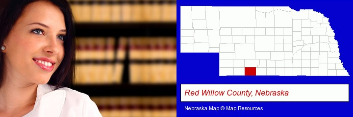 a young, female attorney in a law library; Red Willow County, Nebraska highlighted in red on a map