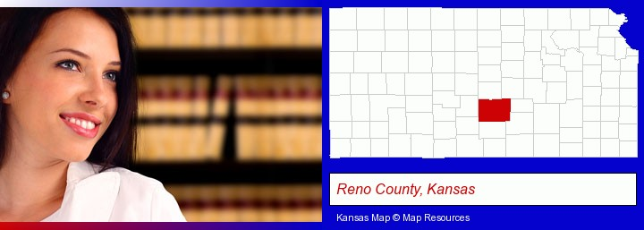 a young, female attorney in a law library; Reno County, Kansas highlighted in red on a map