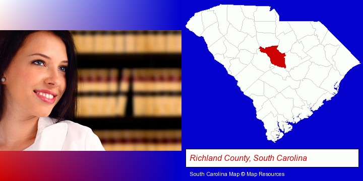 a young, female attorney in a law library; Richland County, South Carolina highlighted in red on a map