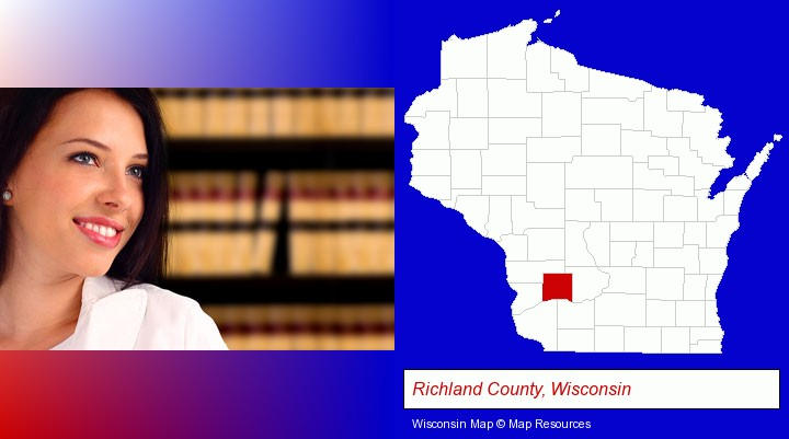 a young, female attorney in a law library; Richland County, Wisconsin highlighted in red on a map