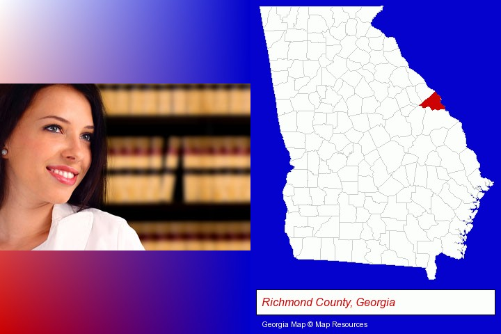a young, female attorney in a law library; Richmond County, Georgia highlighted in red on a map