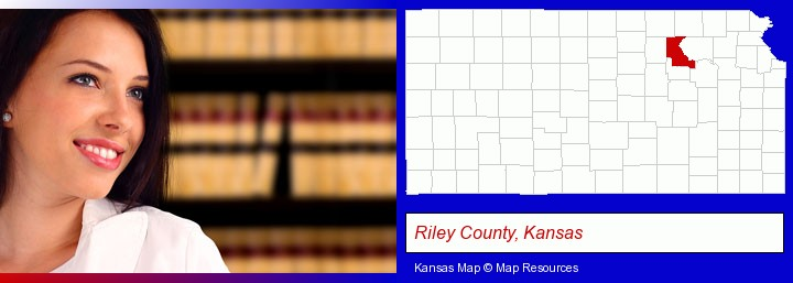 a young, female attorney in a law library; Riley County, Kansas highlighted in red on a map