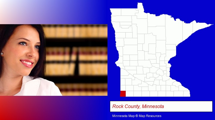 a young, female attorney in a law library; Rock County, Minnesota highlighted in red on a map