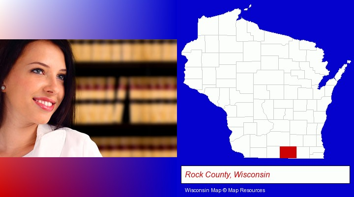 a young, female attorney in a law library; Rock County, Wisconsin highlighted in red on a map