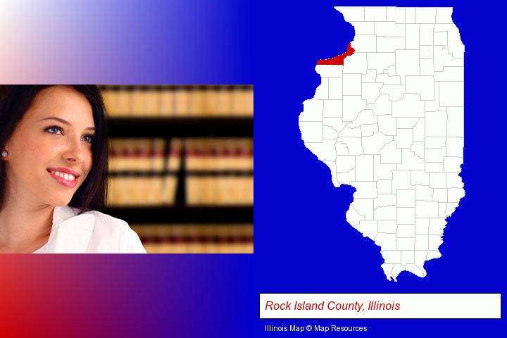 a young, female attorney in a law library; Rock Island County, Illinois highlighted in red on a map