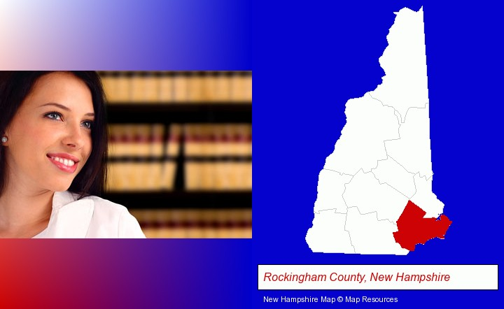 a young, female attorney in a law library; Rockingham County, New Hampshire highlighted in red on a map