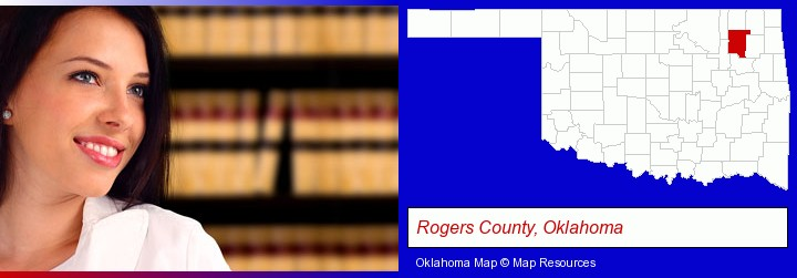 a young, female attorney in a law library; Rogers County, Oklahoma highlighted in red on a map