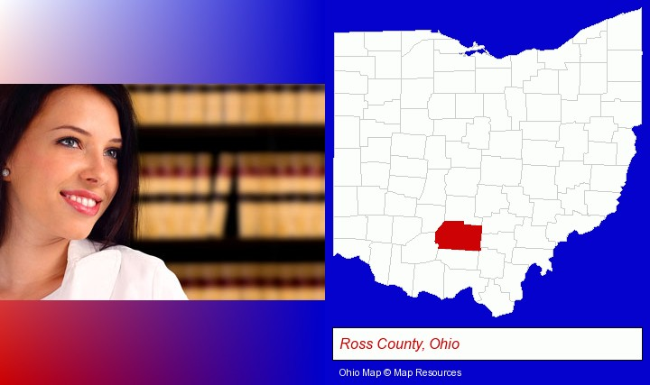 a young, female attorney in a law library; Ross County, Ohio highlighted in red on a map