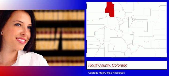 a young, female attorney in a law library; Routt County, Colorado highlighted in red on a map
