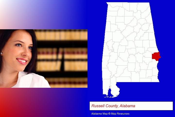 a young, female attorney in a law library; Russell County, Alabama highlighted in red on a map