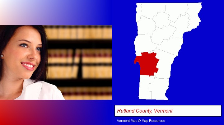 a young, female attorney in a law library; Rutland County, Vermont highlighted in red on a map