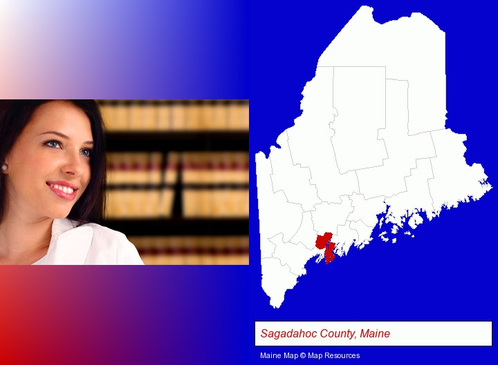 a young, female attorney in a law library; Sagadahoc County, Maine highlighted in red on a map