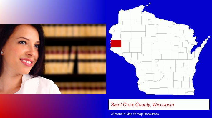 a young, female attorney in a law library; Saint Croix County, Wisconsin highlighted in red on a map