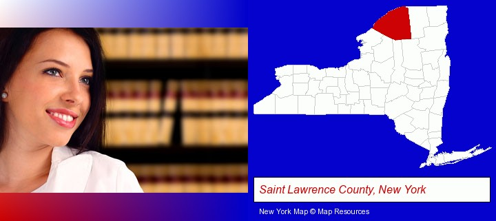 a young, female attorney in a law library; Saint Lawrence County, New York highlighted in red on a map